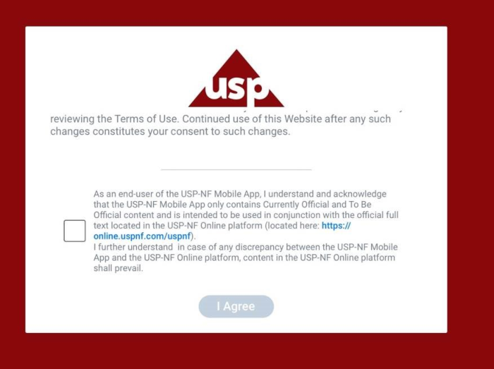 USP-NF Mobile app terms of use checkbox screenshot